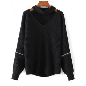 Chunky Choker Sweater - Black - One Size