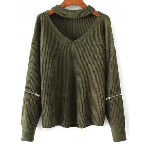 Chunky Choker Sweater - Green - One Size