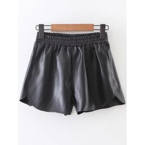Elastic Waist PU Leather Shorts