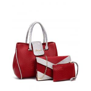 Metal Color Spliced Embossed Tote Bag
