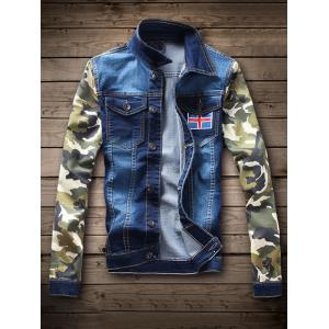 Single Breasted Camouflage Flag Pattern Denim Jacket - Deep Blue - S