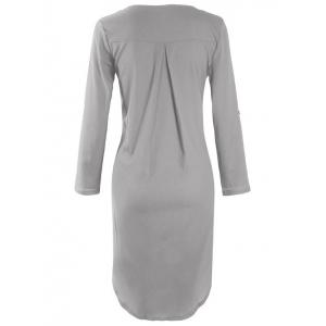 Asymmetrical V Neck Casual Knee Length Going Out Dress - GRAY 2XL