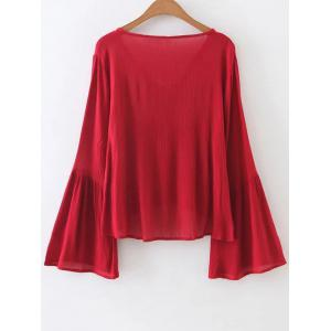 V Neck Bell Sleeve Flowy Top -
