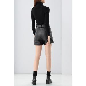 Zipper Fly Short en cuir -