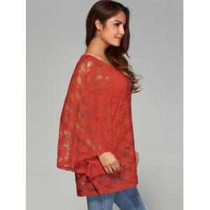 Batwing Sleeve Lace Smock Blouse -