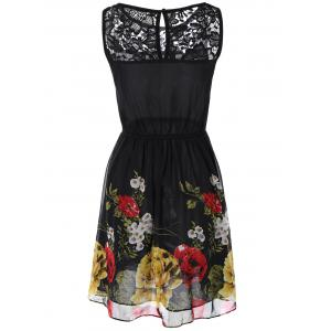Lace Splicing Floral Print Chiffon Dress -