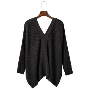 Loose Back Lace Up Plunge Neck Sweater - BLACK ONE SIZE