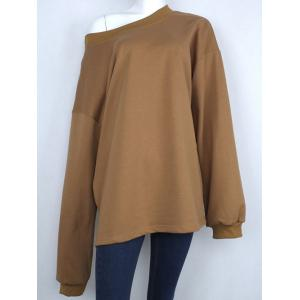 One-Shoulder Loose Sweatshirt - KHAKI XL
