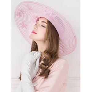 Sororal Party Flower Embroidery Faux Pearl Church Hat - PINK