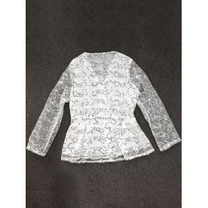 See-Through Sequined Blouse - WHITE L