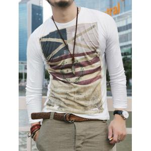 Long Sleeves Round Neck Graphic T-Shirt - WHITE 2XL