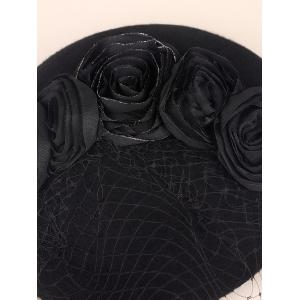 Sororal Party Flower Veil 1940s Fascinator Hat - BLACK