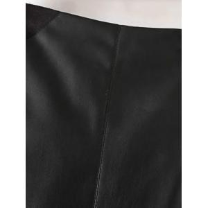 PU Leather Patchwork Midi Pencil Skirt - BLACK L