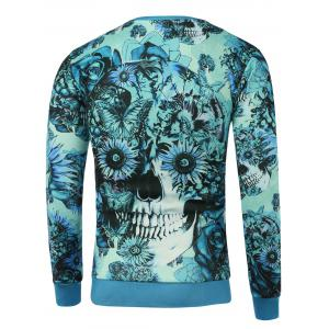 Crew Neck Floral Skull Printed Sweatshirt - BLUE XL