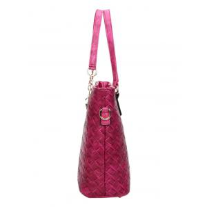 PU Leather Weave Metal Shoulder Bag -