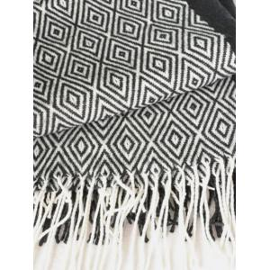 Winter Boa Rhombus Tassel Big Square Scarf -