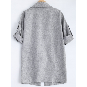 Slit Pocket Design Double Breasted Coat - GRAY 3XL