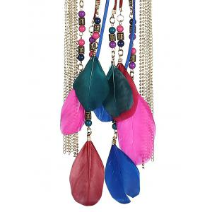 Layered Feather Tassel Rope Necklace - ROSE MADDER