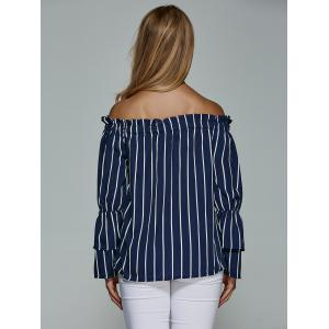 Striped Flare Sleeve Off The Shoulder Blouse -