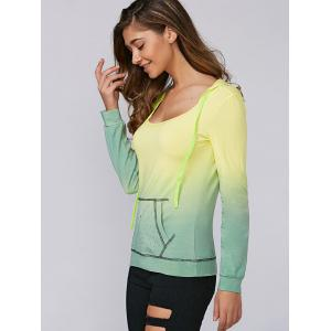 Ombre Rhinestone Design Hoodie - YELLOW AND GREEN XL