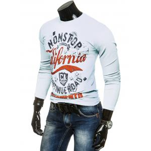 Long Sleeve Crew Neck Graphic T Shirt - WHITE 2XL