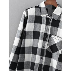 Shirt Neck Checked Rivet Shirt -