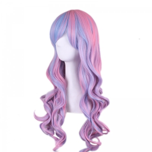 Colored Long Side Bang Wavy Cosplay Synthetic Wig -