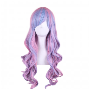 Colored Long Side Bang Wavy Cosplay Synthetic Wig - COLORMIX