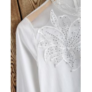 Embroidered Rhinestone Embellished Lace Insert Dress -