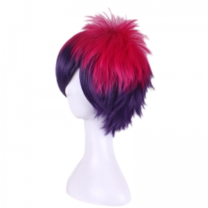 Rose Red Gradient Purple Short Anti Alice Hair Side Bang Cosplay Synthetic Wig -