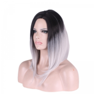 Medium Side Parting Straight Gradient Color Cosplay Synthetic Wig -