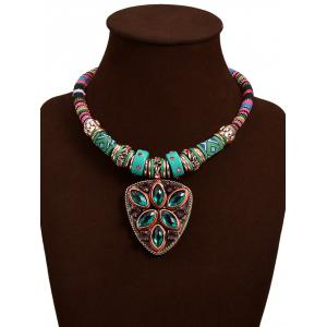 Faux Turquoise Triangle Pendant Necklace -