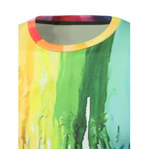 Colorful Paint Dripping Print Round Neck Sweatshirt -