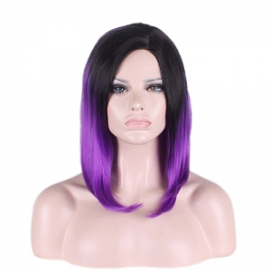 Medium Side Parting Straight Tail Adduction Gradient Color Cosplay Synthetic Wig -