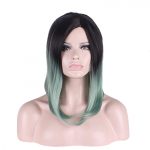 Medium Gradient Color Side Parting Straight Tail Adduction Cosplay Synthetic Wig - COLORMIX