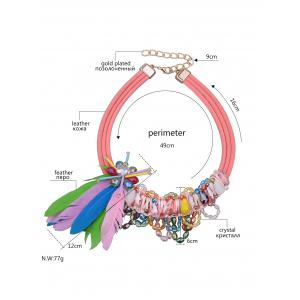 Feather Beads Tassel Layered Necklace - COLORFUL