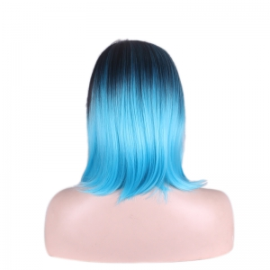 Medium Gradient Side Parting Straight Tail Adduction Cosplay Synthetic Wig -
