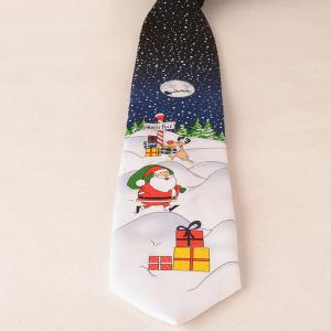 Santa Claus Sending Gifts In The Snowy Evening Christmas Tie -