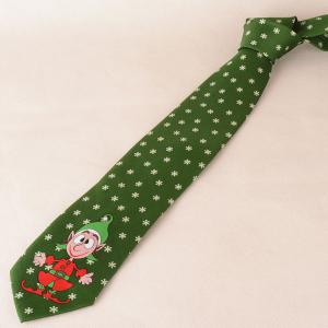 Clown and Snowflake Print Christmas Tie -