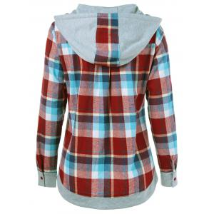 Single Breasted Double Pockets Plaid Hoodie - CHECKED M