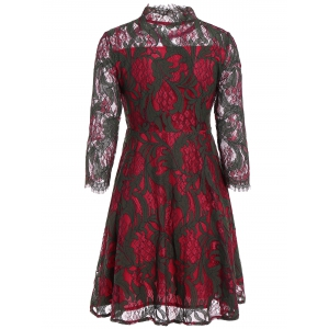 Long Sleeve See Through Lace Dress - DEEP RED L