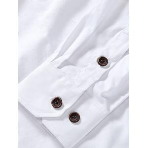 Button Embellished Turn-Down Collar Plus Size Shirt -