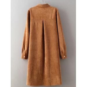High Low Long Sleeve Shirt Corduroy Dress - EARTHY L