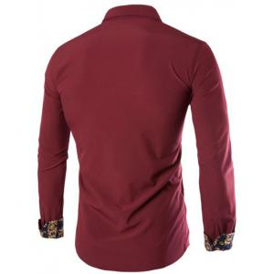 Long Sleeves Embroidery Button-Down Shirt - WINE RED 3XL