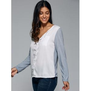Loose-Fitting Contrast Color Blouse - WHITE 5XL