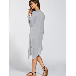 Long Sleeves Asymmetric Midi Dress - LIGHT GRAY XL