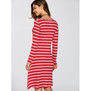 Scoop Neck Striped Stretchy Dress -