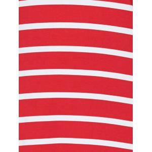Scoop Neck Striped Stretchy Dress - RED XL