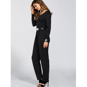 Long Sleeves Plunging Neck Ruched Jumpsuit -