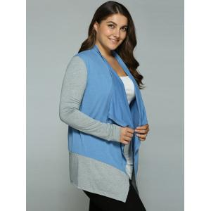 Plus Size Spliced Asymmetrical Cardigan - BLUE+GRAY XL